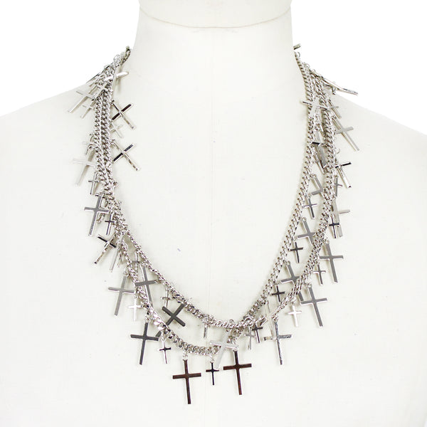 Thomas Wylde silver chain necklace with cross pendant detailing