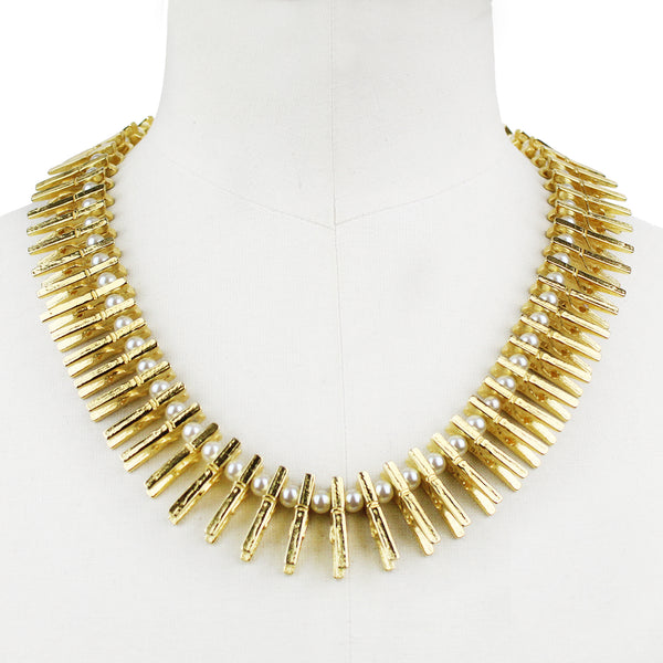 Tom Binns statement gold peg and pearl necklace