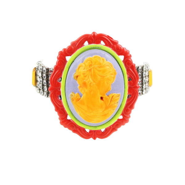 Tom Binns signature cameo bracelet in neon orange