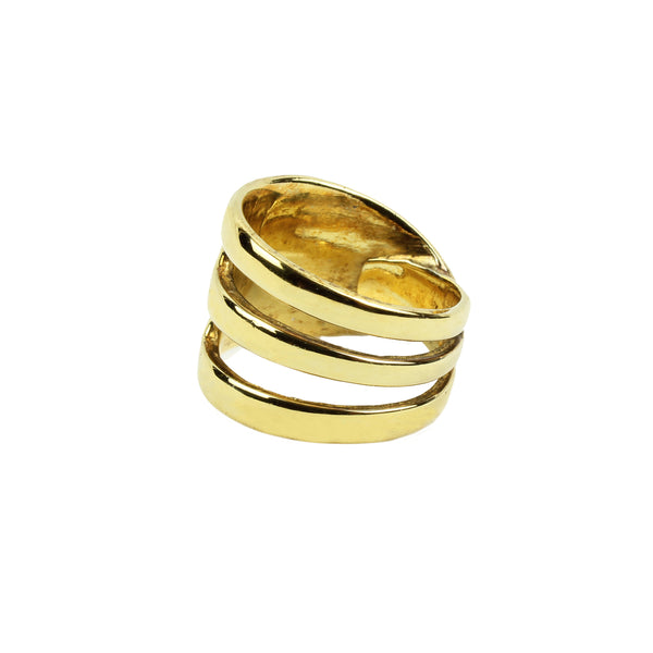 Tom Binns triple band gold plated sterling silver ring in gold vermeil