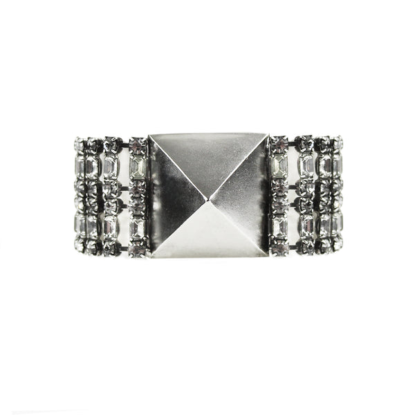 Tom Binns bracelet in an antique tone silver with pyramid and crystal detailing