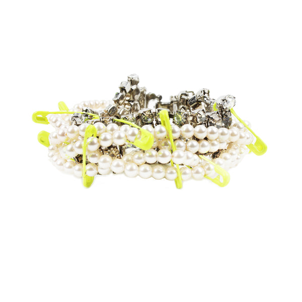 Tom Binns crystal and pearl bracelet with neon yellow safety pin detailing