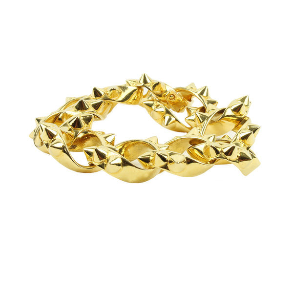 Tom Binns gold chunky chain bracelet with spike detailing