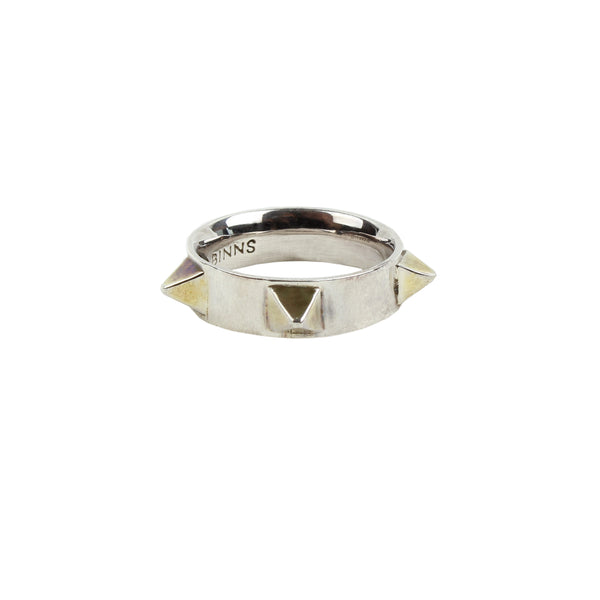 Tom Binns silver and gold pyramid spike ring