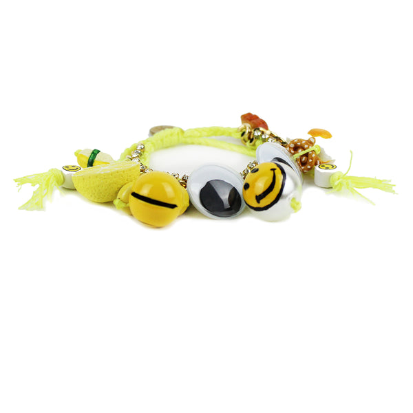 Venessa Arizaga neon yellow fried egg buttered toast sushi smiley face charm friendship bracelet