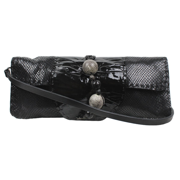 Henry Beguelin handcrafted black lizard leather Galaxy shoulder bag