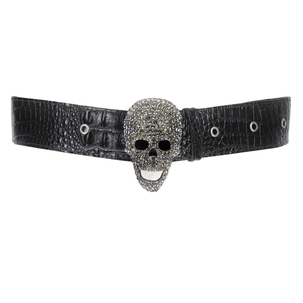 Thomas Wylde black crocodile leather waist belt with crystal embellished skull buckle