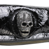 Thomas Wylde black patent leather crystal skull detailed folding clutch bag
