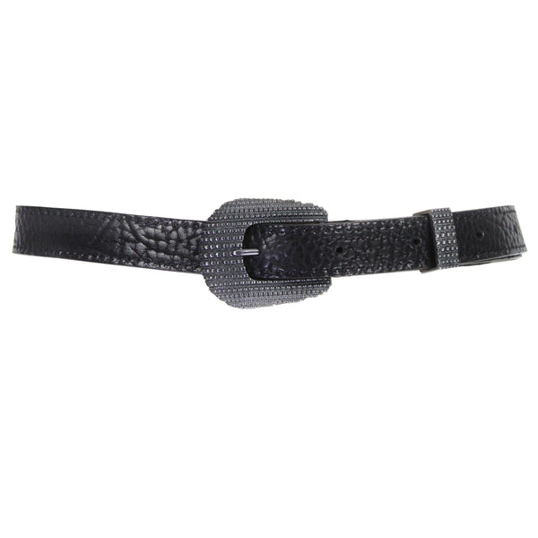 Ugo Cacciatori black grained leather belt with gunmetal urchin textured buckle