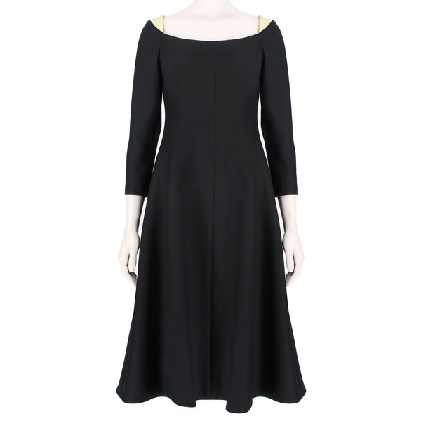 Valentino elegant black and cream calf legnth dress with boat neckline