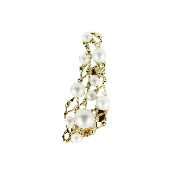 Elie Saab gold filigree pearl detailed earring ear cuff