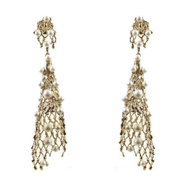 Elie Saab gold conical filigree earrings with faux pearl detailing