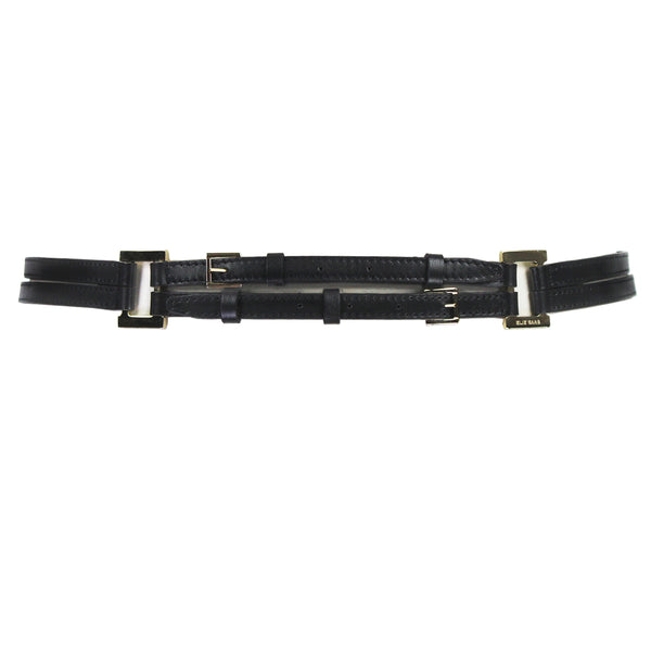 Elie Saab black leather double waist belt with gold tone hardware