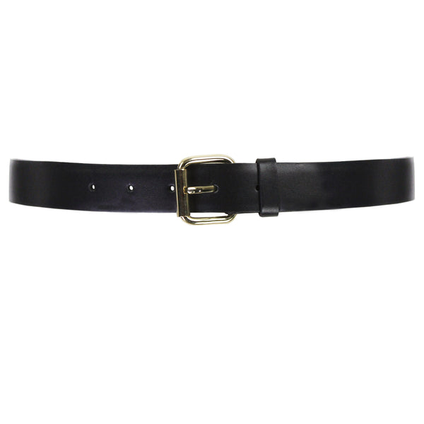 Elie Saab black leather gold buckle fold over waist belt