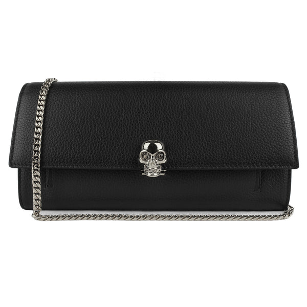 Alexander McQueen black grained leather silver skull wallet purse on a chain bag