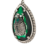 Alexander McQueen emerald green tear drop earrings with scarab beetle crystal detailing