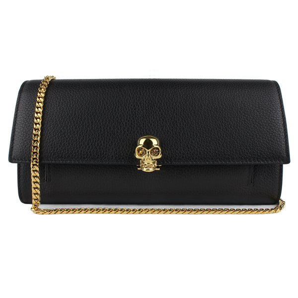 Alexander McQueen black grained leather gold skull wallet purse on a chain bag