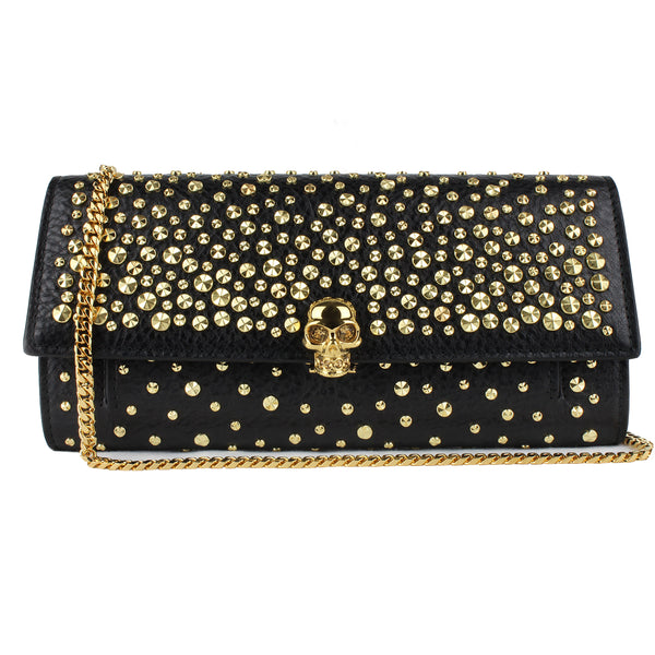 Alexander McQueen black grained leather gold studded skull wallet purse on a chain bag