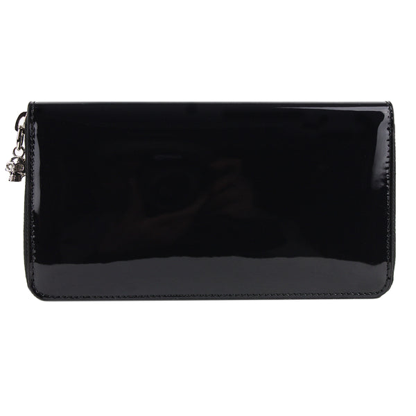 Alexander McQueen black patent mirrored leather continental wallet purse