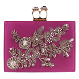 Alexander McQueen magenta pink leather ring knucklebox clutch bag with crystal detailing