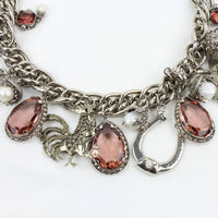 Alexander McQueen antique silver interlinked chain crystal baroque pearl horseshoe charm necklace