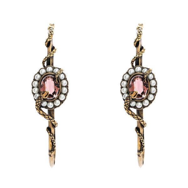 Alexander McQueen gold tone snake serpent and dusky pink crystal detailed hoop earrings