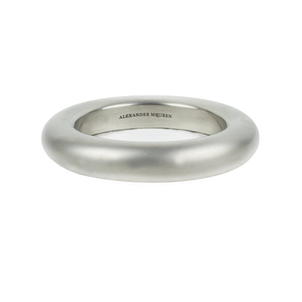 Alexander McQueen solid bracelet cuff bangle in a silver brushed metal