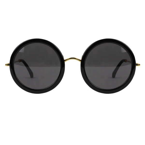 The Row black and gold round frame sunglasses with leather temple tips