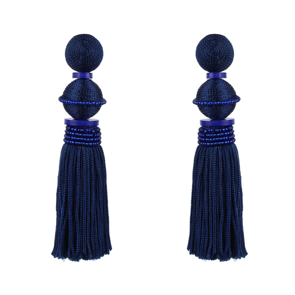 Oscar de la Renta royal blue tassel earrings