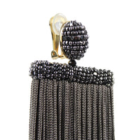 Oscar de la Renta silk waterfall tassel clip on earrings in charcoal grey