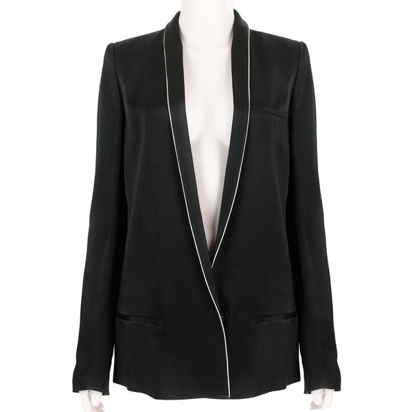 Haider Ackermann gold piped black satin jacket blazer