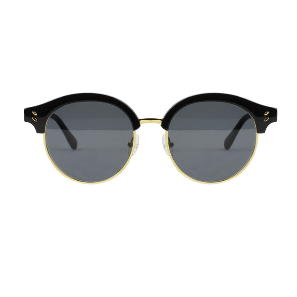 Stella McCartney black and gold rimmed round lens sunglasses