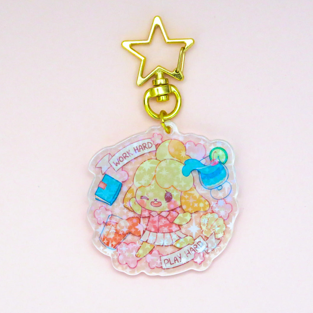 Work Hard Play Hard Acrylic Charm