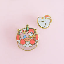 Load image into Gallery viewer, Christmas Cake & Santa Chicken Pin Set
