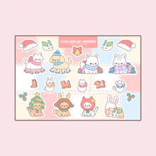 Load image into Gallery viewer, Cozy Winter Animals Vinyl Sticker Sheet