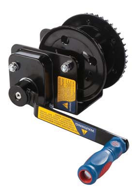 Braked Hand Winch, post / wall mounting 420Kg