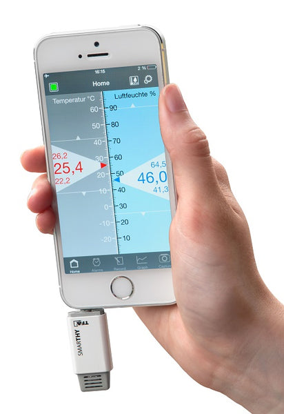 SMARTHY thermo-hygrometer  for smartphones (iOS & Android)