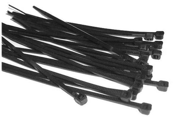 370mm x 7.6mm Cable Tie - Black - Packs of 100