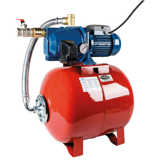 PumpSet Jet 100. Complete with 60L horizontal tank, pressure gauge & pressure switch. 1.0kW