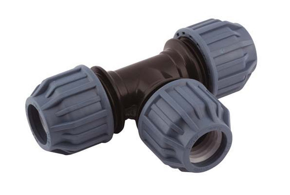 32mm x 32mm x 32mm Compression T-Piece 90°, Compression x Compression x Compression