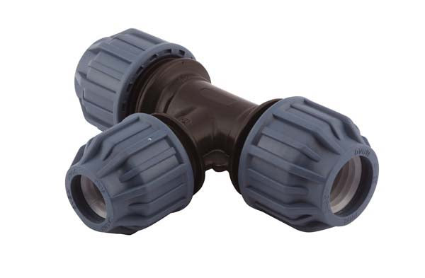 25mm x 20mm x 25mm Reducing Compression T-Piece 90°, Compression x Compression x Compression