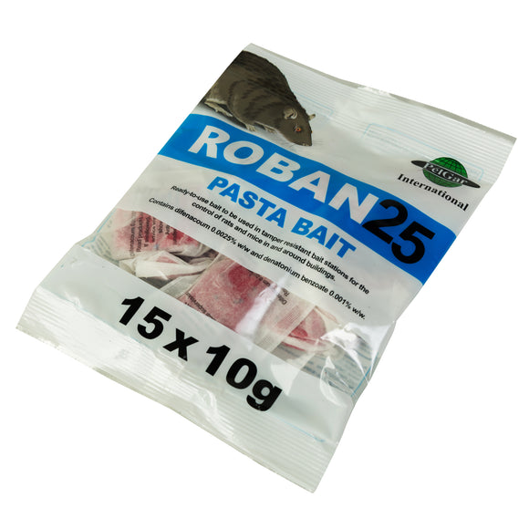 Roban 25 - A 150g Sachet containing 15 x 10g Bait Packs - 0.0025% Difenacoum