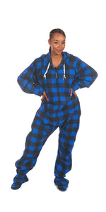 Blue Couch Plaid-tato Onesie - Detachable Feet