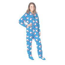 Load image into Gallery viewer, Blue Snowman Onesie - Detachable Feet