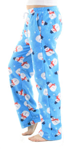 Women's Fleece Pants - Snowman