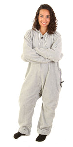 Asleep on the Job Gray Onesie - Detachable Feet