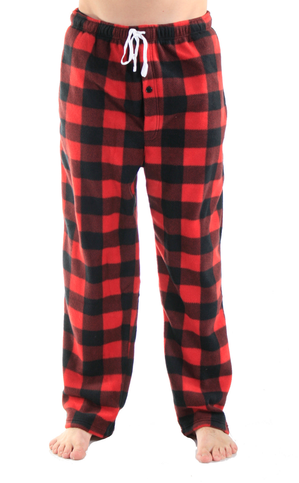 Men's Fleece Pants - Red Plaid