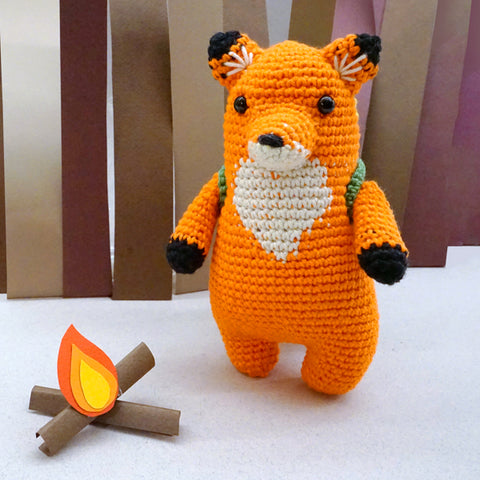 Woobles fox made with cotton yarn