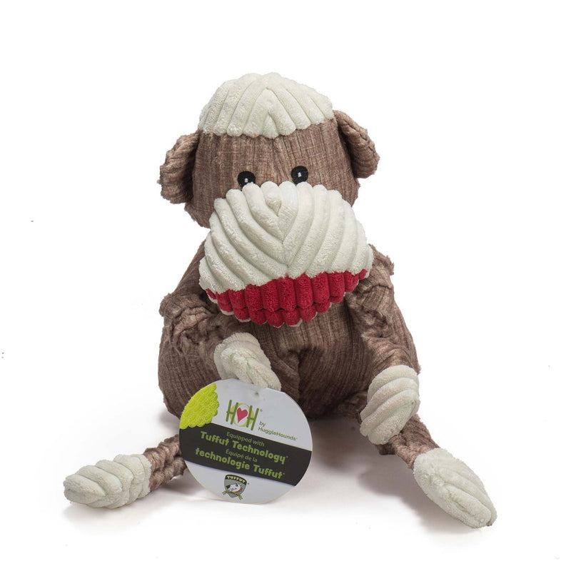 HuggleHounds Knottie Durable Squeaky Plush Dog Toy, Sock Monkey