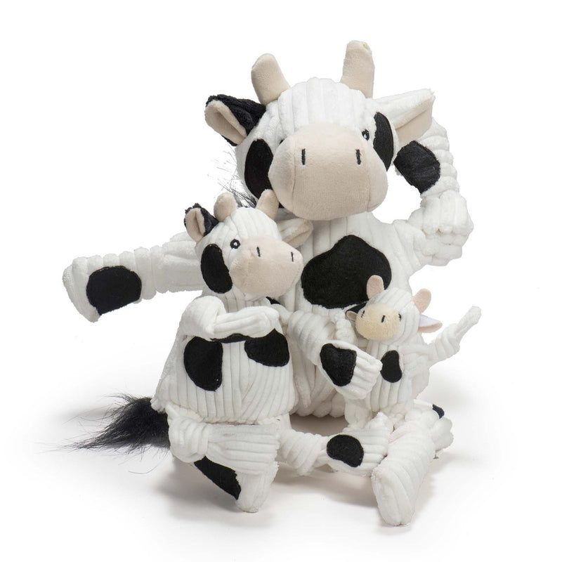 HuggleHounds Knottie Durable Squeaky Plush Dog Toy, Cow